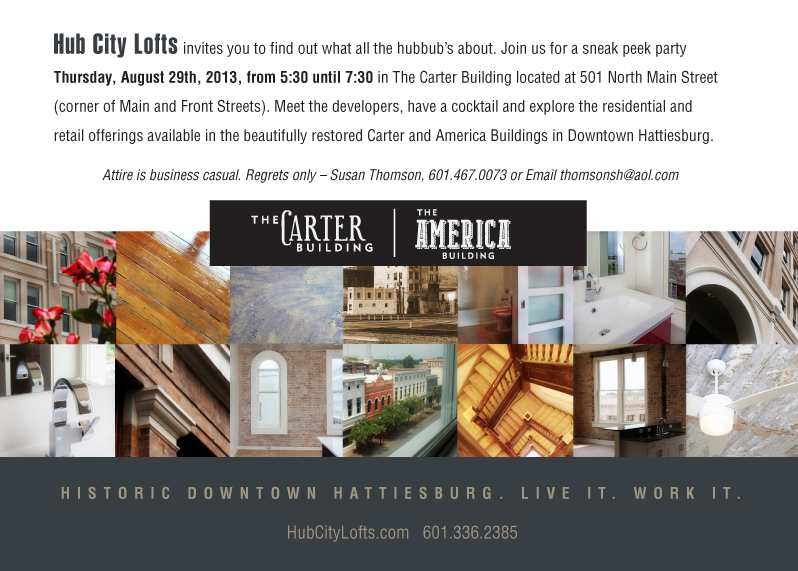 Hub City Lofts Event Invitation (back)