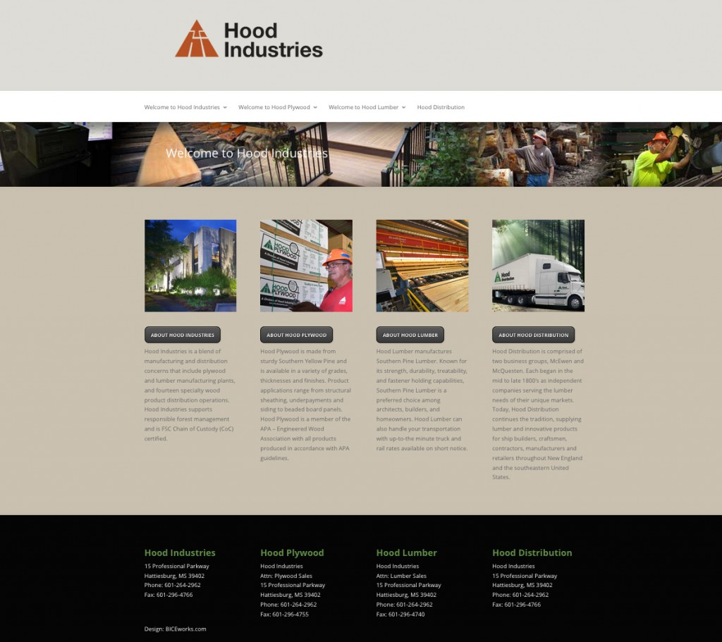 Hood Industries Website