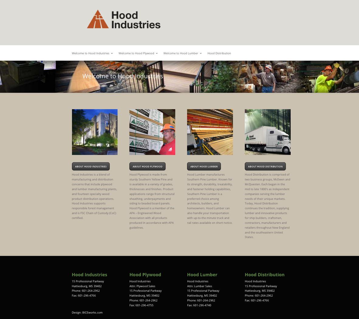 Hood Industries Website